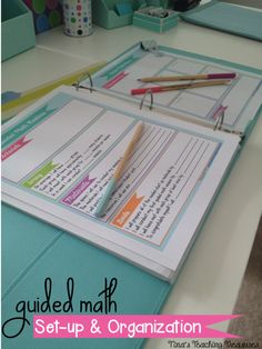 Lots of pictures for how to set up your teacher binder for guided math! Establishing routines and structure: Guided Math Set-up And organization (oh and a free assessment sheet!)