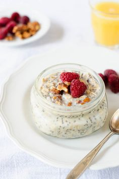 Overnight Refrigerator Oatmeal: 1/4 cup oats 1 tablespoon chia seeds 1/2 cup vanilla soy milk 2 tablespoons dried cranberries 1 tablespoon shredded coconut 1 tablespoon crushed walnuts fresh fruit | Kitchen Confidante