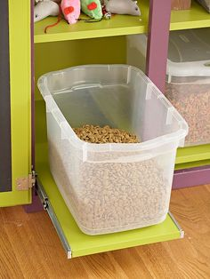 Slide Out Pet Food Storage.