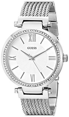 #fashion cool GUESS Women's U0638L1 Sophisticated  Silver-Tone Watch with Self-Adjustable Bracelet & Genuine Crystals