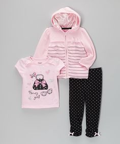 Look what I found on #zulily! Light Pink & Black Zip-Up Hoodie Set - Girls by Young Hearts #zulilyfinds