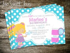 Bubbles Birthday POP fun girl Party Invitation by 2SweetTeas, $15.00