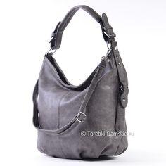 c30910afadedc Grafitowy worek elegancka tania torebka na ramię średniej wielkości