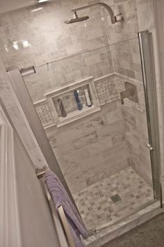 Small shower Tile in Shower stall- MAAX Insight in. W Swing-Open Shower Door in Chrome with Clear at The Home Depot Bad Inspiration, Bathroom Inspiration, Douche Design, Shower Tile Designs, Small Showers, Tile Showers, Small Bathroom Showers, Shower Ideas Bathroom, Small Bathroom With Shower
