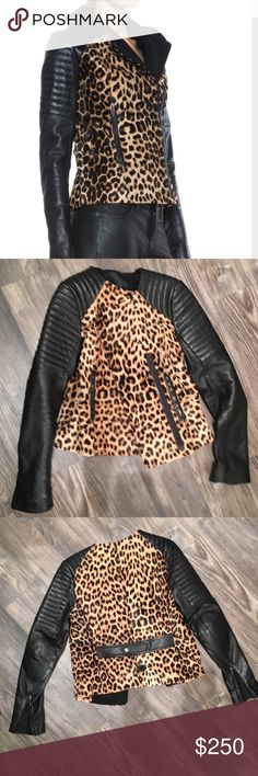 AUTHENTIC A.L.C. Leather and pony hair jacket 💋 This is a jacket I've had for a long time but haven't worn much. I had he collar removed by a tailor bc it was bulky with a scarf. This jacket has absolutely no rips, tears, stains, holes etc. smoke free home! It's in pristine condition bc it's sat in my closet long enough. No lowball offers will be accepted. I ship fast and am a reputable seller (see stars from previous listings) this is a steal, snap it up, price is unbeatable!!!! A.L.C…