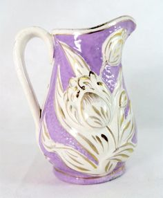 Antique Victorian Pitcher, 19thC Staffordshire Lilac Mauve Relief-Moulded Handpainted Tulips Water Jug