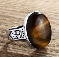 Sterling Silver Men's Ring with Natural Brown Tiger's Eye Gemstone Mens Gemstone Rings, Sterling Silver Mens Rings, Silver Jewelry, Jewelry Rings, Jewlery, Tigers Eye Gemstone, Jade, Silver Man, Vintage Rings