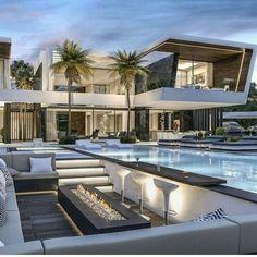 Millionaire Homes, Modern Villa Design, Contemporary Design, Dream Mansion, Modern Mansion, Luxury Homes Dream Houses, Dream House Exterior, Dream Home Design, Home Fashion