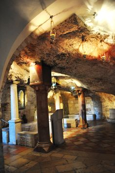 """The Milk Grotto (or """"Grotto of the Lady Mary""""), in Bethlehem, is where Mary is said to have nursed Jesus during the Slaughter of the Innocents"""