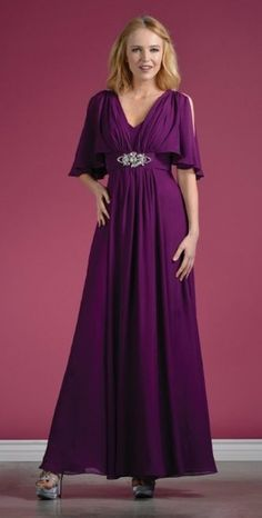 Long Chiffon Grecian Eggplant Dress Mid Length Sleeves V Neck $117.99