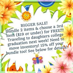 FREE ITEM SALE!! YOUR CHOICE!! + GET 15% OFF! SALE EXTENDED!! Purchase any bundle of 2 listings and YOU CHOOSE ANY item priced at $19 or less and I will send it with your bundle as my gift to you!! AND YES!!!! You DO still get the 15% off bundle discount too!!! Just comment on one of your bundled items, what item you want for free & I will mark it not for sale & add it to your shipment! (4 items purchased = 2 free items, etc. you can bundle all together for one shipping price-just DON'T put…