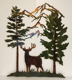 Excited to share this item from my #etsy shop: Whitetail Buck Deer Trees & Mountains Wildlife Indoor Outdoor Metal Wall Art Outdoor Metal Wall Art, Metal Art, Art Themes, Room Themes, Mountain Cabin Decor, Buck Deer, Beach Properties, Whitetail Bucks, Great Father's Day Gifts