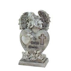 "6.5"" Praying Angel ""In Loving Memory"" Bereavement Patio Garden Statuary w/ Pure White Solar Light,, Outdoor Décor"