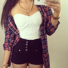 Plaid, corset, chain