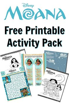 Free Printable Moana Activity Pack - Maui, Moana, Hei Hei, Pua, Kakamora coloring sheets, maze, connect the dots, bookmarks, and more!