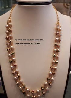 Check Out The Complete Pearl Chain Designs Here! Pearl Necklace Designs, Pearl Jewelry, Wedding Jewelry, Pearl Necklaces, Necklace Set, Jewelery, Pendant Jewelry, Antique Jewelry, Gold Chain Design