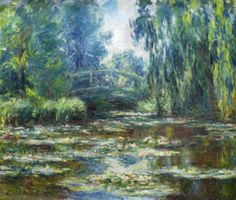 Monet: Water lilies in Monets garden   - Giclee Art Reproduction on Stretched Canvas