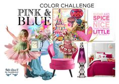 """""""Color Challenge: Pink and Blue"""" by slynne-messer ❤ liked on Polyvore featuring interior, interiors, interior design, home, home decor, interior decorating, Finny & Zook, Martha Stewart, Universal Lighting and Decor and LSA International"""