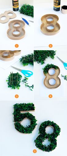 DIY Grass Numbers. Make the birthday boy or girl's age to use as a dinosaur party buffet table centerpiece.