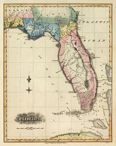 Old Florida Maps | Antique map of Florida - Map of Florida state - PRINT - 16x20 ""