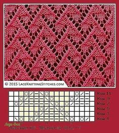 """Free Chart 12 """"A collection of beautiful knitting stitches featuring lace and eyelets for knitters of all levels, inclu Lace Knitting Stitches, Knitting Machine Patterns, Lace Knitting Patterns, Knitting Charts, Lace Patterns, Loom Knitting, Stitch Patterns, Free Knitting, Knitting Ideas"""
