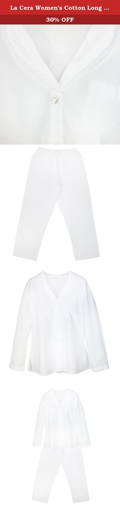 La Cera Women's Cotton Long Sleeve Long Leg Pajama Set, Small, White. These boutique quality pajamas are made of 100% cotton with a silky soft finish. Feminine lace trim is featured on the collar, pocket and sleeves. Made with fine craftsmanship and exquisite materials these pajamas will add a touch of luxury to your loungewear.