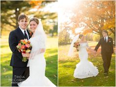 Bride and Groom Autumn Leaves - Berkshire County Fall Wedding - Tricia McCormack Photography