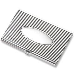 357cce22aeee Silver Ribbed Business Card Case w Oval Center | Business Card Cases  Business Card Case,