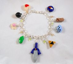 Legend of Zelda Charm Bracelet  Polymer Clay  Video by Outpost8, $27.00