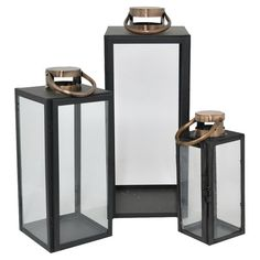 set of 3 black and brass lanterns $53