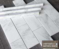 """$7.00 a Square Foot 3x6"""" Carrara Subway Tile available online from The Builder Depot with over 80 different products that we match perfectly to create a bathroom as you can see the pencil has been matched with this subway tile. #carraratile"""