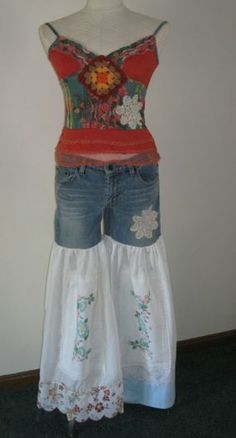 Jeans Made into Skirts | Made from recycled jeans, recycled vintage fabrics.