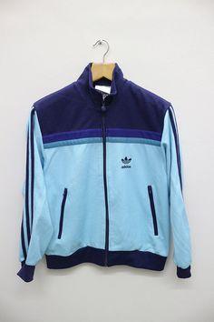Activewear Tops Activewear Adidas Retro Trefoil Original Turquoise Blue Tracksuit Top D5 Chest 48inch