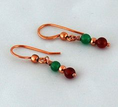 Carnelian Aventurine & Copper Drop by RivendellRockJewelry on Etsy, $12.00