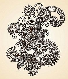 Illustration of Hand-Drawn Abstract Henna Mendie Flowers Doodle Vector Illustration Design Element vector art, clipart and stock vectors. Henna Patterns, Zentangle Patterns, Zentangles, Tattoo Patterns, Bild Tattoos, New Tattoos, Henna Tattoos, Tatoos, Paisley Tattoos