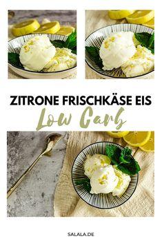 Eis aus Frischkäse, ein wenig Zitrone und Xylit. Fertig. So einfach kann zuckerfreies Low Carb Eis sein. Du kannst das Rezept auch komplett ohne Eismaschine und Gefrierschrank machen. Nennt sich dann Dessert. Vielseitig, Keto und oberlecker. #LowCarbEis #KetoEis #FrischkaeseEis #EisMitZitroneUndFrischkaese #KetoEis #EisSelberMachen Sorbet, Parfait, Sweet Recipes, Camembert Cheese, Dairy, Dinner, Desserts, Food, Sweet Sweet