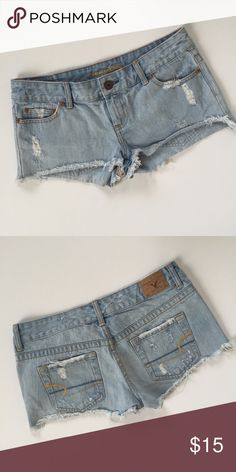 AE Shorts Light wash denim shorts from American Eagle. Distressed style, size 4. These are short! Lightly worn and in good condition.    🚫No trades 🚫No modeling 🚫No 🅿️aypal 🚫No Merc ✅Posh Rules ✅Use Offer Button ✅Bundle for 15% off American Eagle Outfitters Shorts Jean Shorts