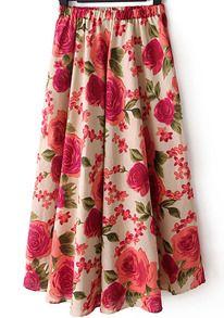 Elastic Waist Flower Print Pleated Red Skirt