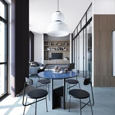 Modern decor is often either monochrome or contains bright home accents, but this contemporary home uses smooth muted colours to achieve a cool relaxed look. Copper Dining Room, Round Wood Dining Table, Formal Living Rooms, Living Room Sets, Futuristisches Design, Interior Design, Home Office, Industrial Style Kitchen, Bright Homes