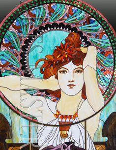 Витраж «Дама с ирисами»