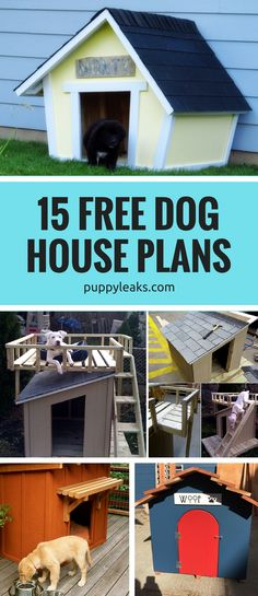 Looking to make a dog house? From mini log cabins to insulated options, check out these 15 free dog house plans. #dogs #diy #diystuff #diydogstuff  via @puppyleaks