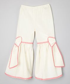 Look at this #zulilyfind! Ivory & Fuchsia Ruffle Pants - Infant, Toddler & Girls by Little Miss Fashion #zulilyfinds