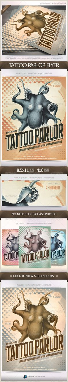Tattoo Parlor Flyer  #GraphicRiver        Tattoo Parlor Flyer Flyer perfect for a number of tattoo or art gallery special events, conventions, trade shows or advertisements.