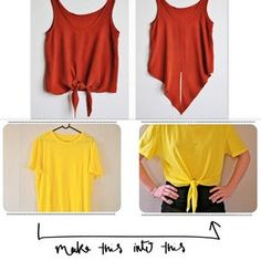 So easy diy roupas, clothing hacks, cut shirts, old t shirts, diy cloth Diy Clothes Storage, Sewing Clothes, Umgestaltete Shirts, Teenager Mode, Diy Crop Top, Diy Summer Clothes, Diy Kleidung, Diy Clothes Refashion, Diy Vetement