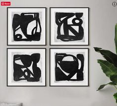 Super Amazing Value. A set of 4 Minimal black and white Abstract Prints. These have a subtle, off-white and visible textured black tones. Black And White Wall Art, Black And White Painting, Black And White Abstract, Abstract Drawings, Abstract Art, Abstract Watercolor, Large Wall Art, Abstract Expressionism, Art Prints
