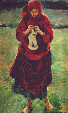 Peasant Girl Knitting a Stocking by Filipp Malyavin, 1895