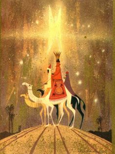A Christmas card depicting the Three Kings by the illustrator Ralph Hulett an underrated artist who worked on several Walt Disney features including FANTASIA, SLEEPING BEAUTY, and. Vintage Christmas Cards, Retro Christmas, Vintage Cards, Vintage Holiday, Christmas Nativity, Christmas Past, Winter Christmas, Christmas Artwork, Xmas