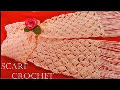 Bufanda o chalina trenzas en relieves tejida a crochet o ganchillo paso a paso - YouTube