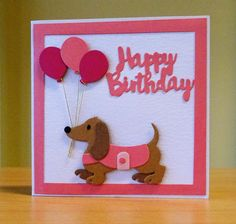 Birthday Card - Marianne Collectables Dachshund Die.  To purchase my cards please visit CraftyCardStudio on Etsy.com.
