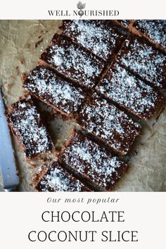 Chocolate Coconut Slice, Healthy Chocolate, Chocolate Recipes, Vegan Sweets, Healthy Desserts, Baking Recipes, Dessert Recipes, Sans Gluten, Gluten Free